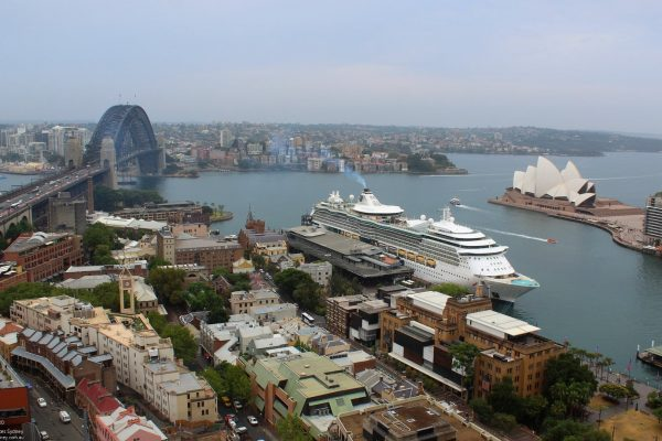 cruise ship overlooking sydney harbour